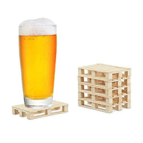 Relaxdays Untersetzer, 6er Pack, Mini Paletten für Tassen & Gläser, Holz, Getränkeuntersetzer, 2x12x8cm, natur, 6 Stück