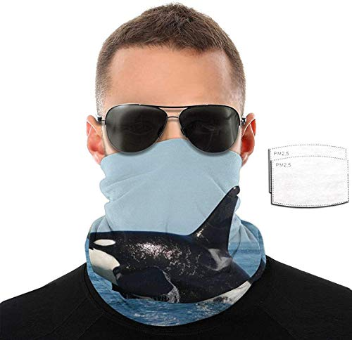 Unisex Face Mask Reusable Adjustable Breathable Cover Adult-Dust Warm Bandana Neck Gaiter Headwear-Orca Iller Whale-One Size