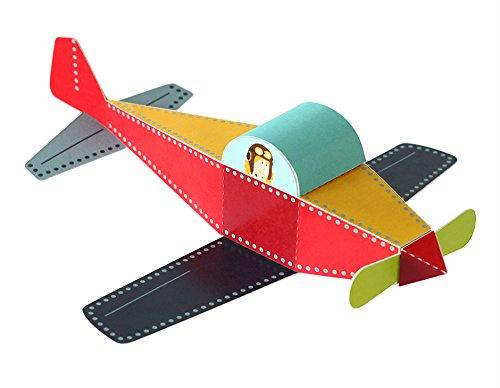 POWERHAUS24 Flugzeug, Bastelvorlage Transportmittel, Papier Spielzeug zum Basteln & Spielen