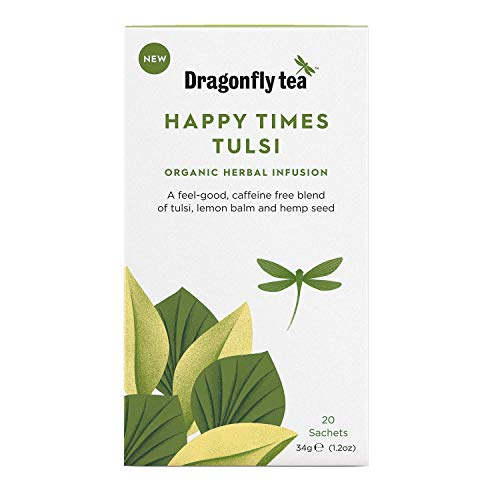 Dragonfly Tea Happy Times Tulsi, Organic Herbal Infusion, 20 Teabags, Pack of 4, 80 Teabags