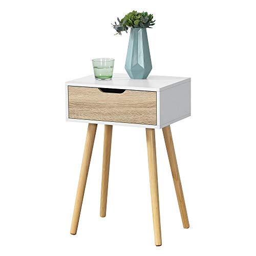 [en.casa] Beistelltisch Östersund mit Schublade 60x40x30 cm Kommode Retro Nachttisch Schubladentisch Massivholz Spanplatte Weiß/Eiche