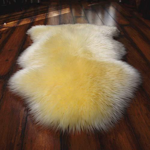 DOOT Soft Faux Sheepskin Chair Cover Seat Cushions,Imitation Sheepskin Plush Rugs Fluffy Area Carpets for Bedroom Floor Sofa Living Room-Yellow 75x180cm(30x71inch)