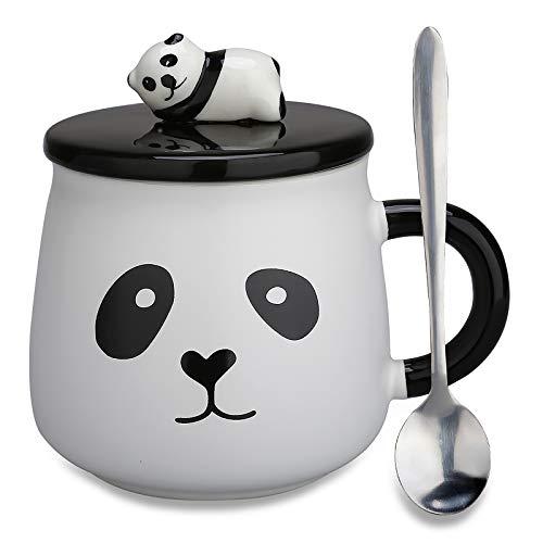 Mug en céramique cadeaux–Panda 3D pour cadeau d'anniversaire, de Noël Tasse à café, à thé avec couvercle et cuillère pour amis, mère, fille, enfant