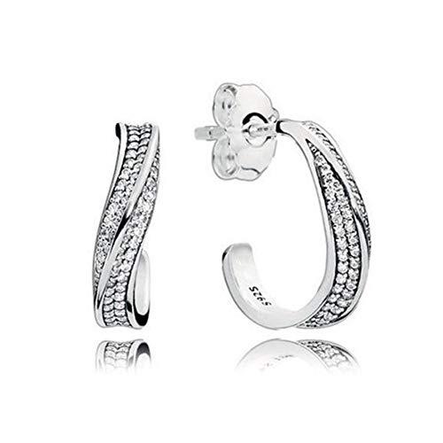 Nuevos pendientes de estrella de corona de corazón de Plata de Ley 925 auténtica, pendiente de botón cuadrado redondo brillante para mujer, joyería de oreja fina Original DIY-K012