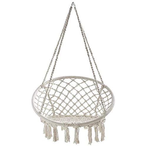 Dalovy Transat Bains Chaise Suspendue Confortable, Tricotée par Une Corde de Coton avec Une Chaise Balançoire Hamac À Franges Romantiques pour Un Patio Extérieur Intérieur