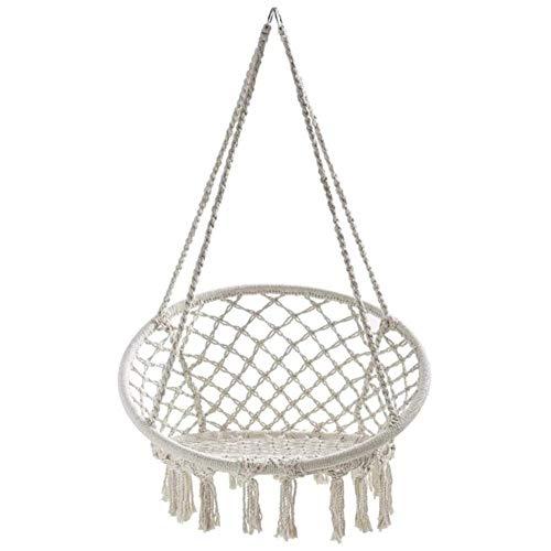 Silla Colgante, Tejida con Cuerda de algodón con Flecos románticos Silla Colgante Tipo Hamaca para Interior, Exterior, Patio, terraza, jardín