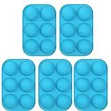 Generic 5X Rundes Silikon 6 Löcher Semi Sphere Antihaftform Blue Cake Backform