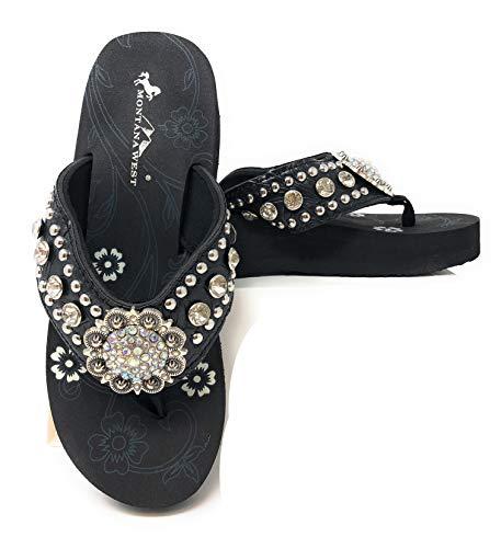 Montana West Women Flip Flops Wedged Bling Sandals Large Floral Concho Black 11