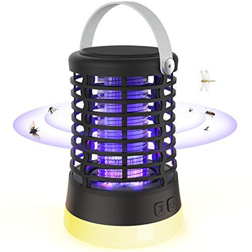 BIMONK Lámpara Antimosquitos Mata Moscas, Linterna de Camping Portátil 2 en 1, 3 Modos de Luces, para Exterior Senderismo Interior