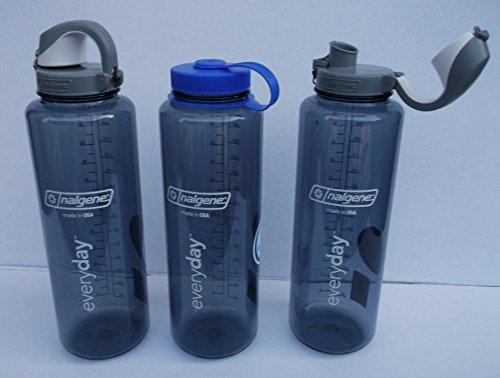 Nalgene SILO Everyday 1,5 L Grau mit OTF Einhandverschluss + 63 mm Drehverschluss 1 Flasche 2 Verschlüsse