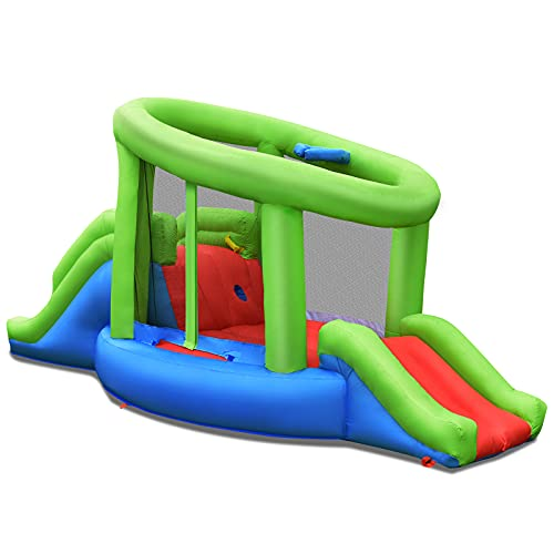 GYMAX Kids Bouncy Castle, Inflatable Bounce Playhouse with 2 Slides, Basketball Hoop and Storage Bag, Indoor Outdoor Jumping Bouncing House for 3-10 Years Old