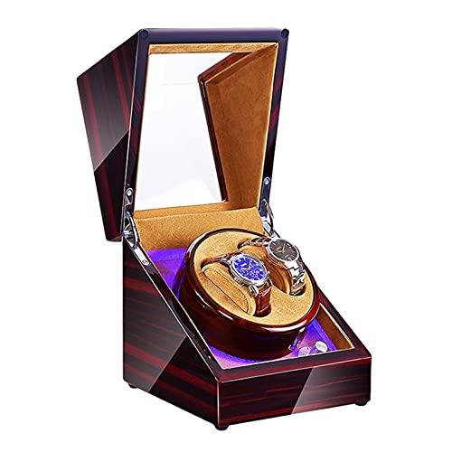 GUOYUN Caja De Reloj Giratoria De Madera Eléctrica De Madera Reloj Mecánico Automático Shake The Watch and Wind The Watch para Hombres Y Mujeres (Color : Brown, Size : 2+0)