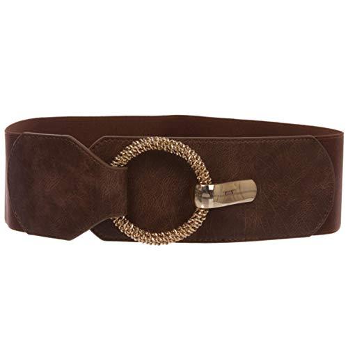 Cintura da donna elasticizzata a vita alta, alla moda, alta 75 mm, marrone, M/L (girovita: 76-91,5 cm)