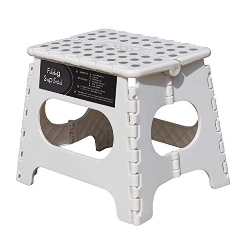 Folding Step Stool 11quot Height  Holds up 300 Lbs Lightweight Foldable Stepping Stool is Sturdy Enough to Support amp Safe Enough for Adult Skid Resistant and Open with one flip White/Grey dots