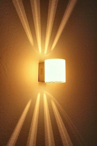 Wandlampe Bamako aus Metall/Glas in Weiß/Nickel-matt, moderne Wandleuchte mit Up & Down-Effekt, 1 x G9 max. 40 Watt, Innenwandleuchte mit Lichteffekt u. An-/ Ausschalter, geeignet für LED Leuchtmittel