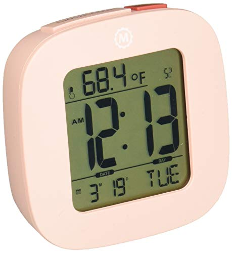 Marathon Small Compact Alarm Clock with Repeating Snooze, Light, Date and Temperature. Batteries Included Travel Collection - CL030058PI (Light Pink)