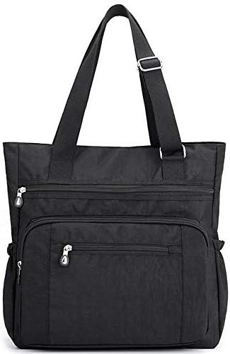 Multi Pocket Nylon Totes Handbag Large Shoulder Bag Travel Purse Bags For Women Y Black01 product image