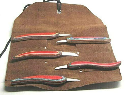 UJ Ramelson 5pc Chip Wood Carving Knife Whittling Caricature Leather Tool Roll