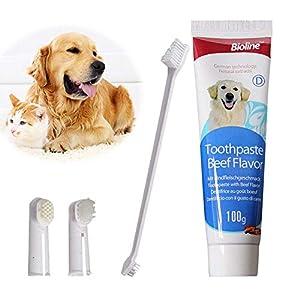 Kit de brosses à dents pour chien ou chat - Pour nettoyer les dents, enlever les résidus de nourriture, les soins de santé dentaires - Ensemble de brosses multifonctions - Hygiène bucco-dentaire
