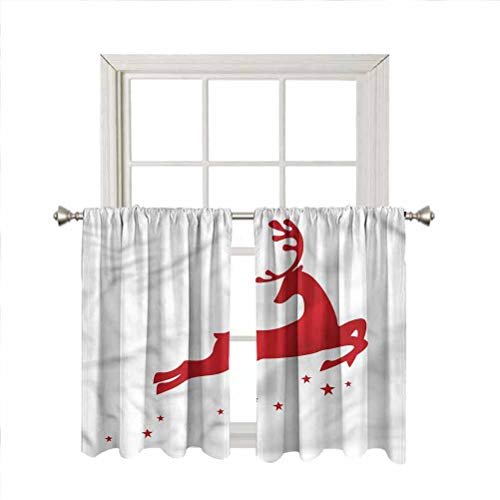 LCGGDB Red Rod Pocket Drapes Thermal Insulated Panels,Jumping Reindeer Stars Thermal Insulated Window Drapes for Nursery/Kitchen/Living Room,42 x 63 Inch, 2 Panels