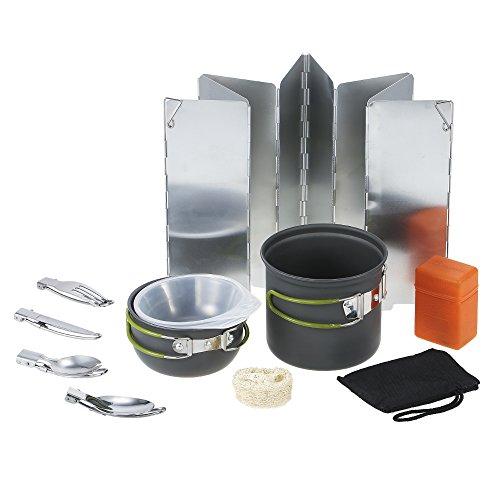 TOMSHOO 11PCS Utensilios Portátiles de Cocina Camping al Aire Libre de Senderismo Mochilero Cocina Picnic Pan de Cocina Pot Set con Cubiertos y Estufa Plegable Piezo Encendido