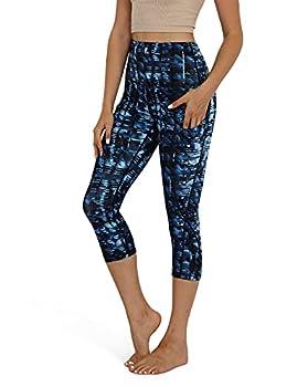 ODODOS Women s High Waisted Pattern Pocket Capri Leggings Athletic Sports Workout Running Yoga Capris Indigo Large