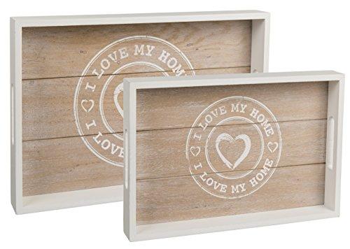 Bada Bing 2er Set Holz Tablett Dekotablett I Love My Home Herz Planken Vintage