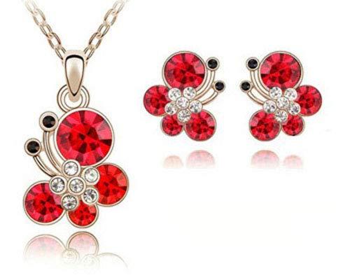 Mariposa Juego de Joyas Cristal Chapado en oro Bisutería Collar Colgante Aretes, Color Roja