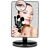Large Lighted Vanity Makeup Mirror (X-Large Model), Funtouch Light Up Mirror with 35 LED Lights, Touch Screen and 10X Magnification Mirror, 360° Rotation Tabletop Cosmetic Mirror (Black)