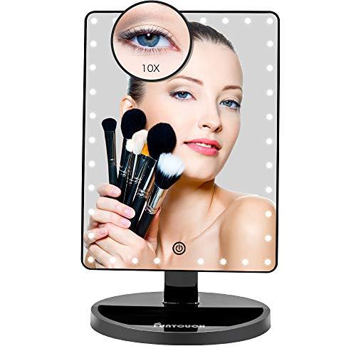 Grande Espejo Maquillaje Aumento 1X10X, Espejo Maquillaje Luz Regulable con 35 Leds , Espejo Tocador Recargable USB y Bateria Disponible Apoyo 180° Rotación (Negro)