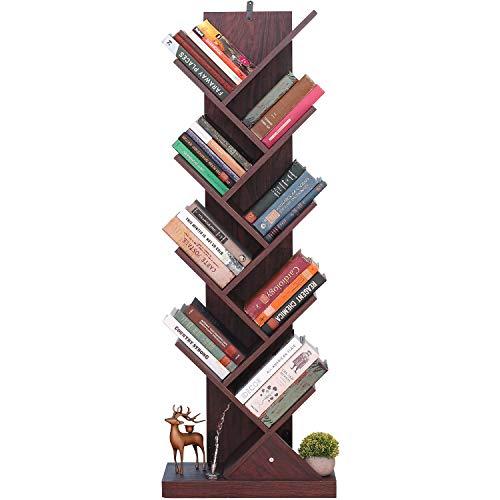 Himimi Librería de 9 niveles, vintage estantería libros con forma de árbol, estantería de madera para librería, cafetería, salón, hogar, sala de estar y oficina