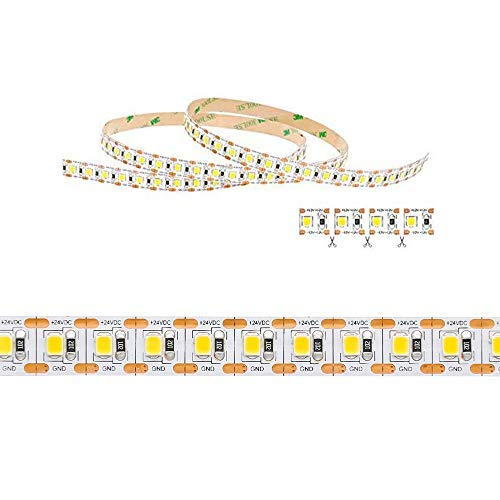 Tecno & Led - Strip Led Striscia 120W Luce Naturale/Calda/Fredda- Striscia Led Taglio Singolo Led 24W/mt 24V PCB 10mm Bobina Da 600 SMD 2835 [Classe di efficienza A+] (Bianco caldo 3000K)