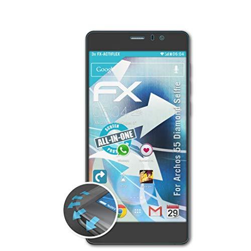 atFolix Schutzfolie kompatibel mit Archos 55 Diamond Selfie Folie, ultraklare & Flexible FX Bildschirmschutzfolie (3X)