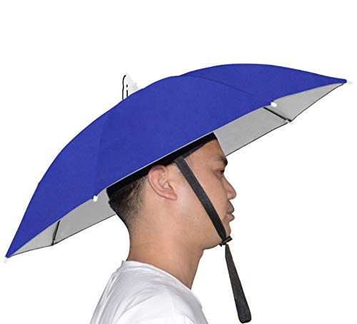 NEW-Vi Umbrella Hat Adult and Kids Folding Cap for Beach Fishing Golf Party Headwear (Blue/Silver)