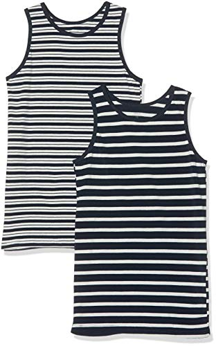 NAME IT Jungen NKMTANK TOP 2P YD NOOS Unterhemd, Mehrfarbig (Dark Sapphire Dark Sapphire), 158 (Herstellergröße: 158-164) (2er Pack)