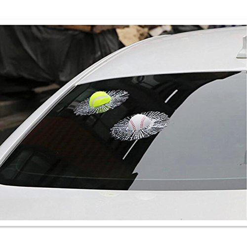 EQLEF Autoadesivi della Finestra di Automobile 3D, Sfere di Sport Divertenti Creative Finestra della Finestra di Automobile della Decalcomania Adesivo della crepa della Finestra Colore Casuale