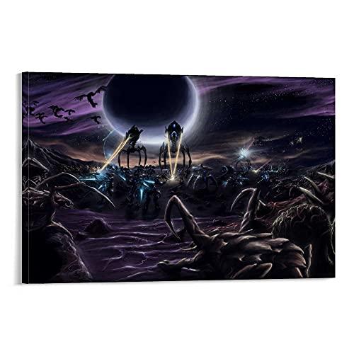 QWDAS StarCraft Protoss Zerg Game Poster, dekoratives Gemälde, Leinwand, Wandkunst, Wohnzimmer, Poster, Schlafzimmer, Gemälde, 40 x 60 cm