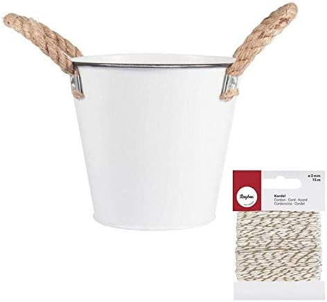 Rayher Mini zinc Bucket Ø 10.5 Limited Special Price White x Max 88% OFF Golden Whi cm +