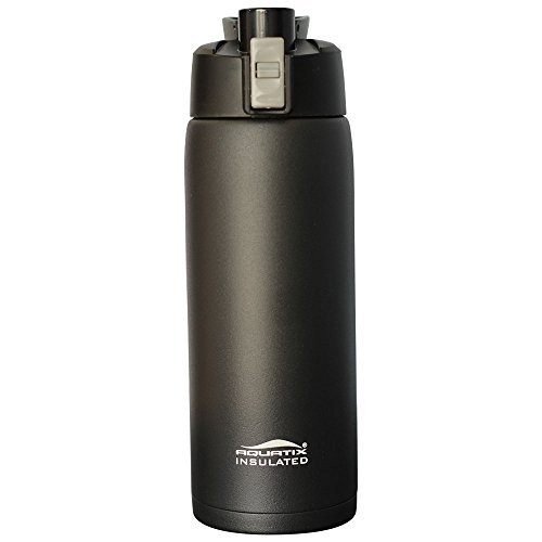 Aquatix FlipTop Sport Bottle Unisex's Aquatix FlipTop Double Walled Insulated Bottles, Black, 21 Ounce