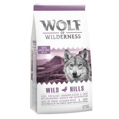 Wolf of Wilderness Adult 'Wild Hills' - Ente, Premium Trockenfutter für Hunde, 100% getreide- und glutenfrei, angereichert mit Waldfrüchten, Wildkräutern und Wurzeln, 12 kg