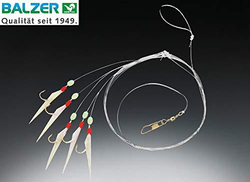 Balzer Fluo Heringsvorfach 1,50m 5 Haken Gr. 6 - Meeresvorfach zum Heringsangeln, Heringspaternoster zum Meeresangeln auf Heringe