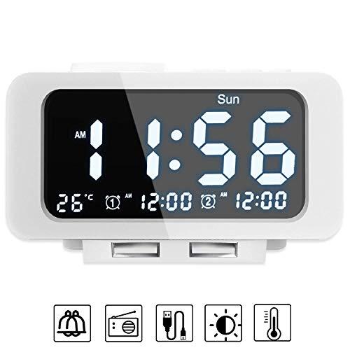 Alarm Clocks for Bedrooms, LED Digital Alarm Clock Radio with FM Radio, Dual USB Port for Charger, Dual Alarms, 5 Level Brightness Dimmer, Adjustable Alarm Volume, Best Gift for Men - White