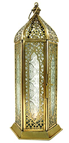 Guru-Shop Orientalische Metall/Glas Laterne in Marrokanischem Design, Windlicht, Farblos, Farbe: Farblos, 27x10,5x10,5 cm, Orientalische Laternen