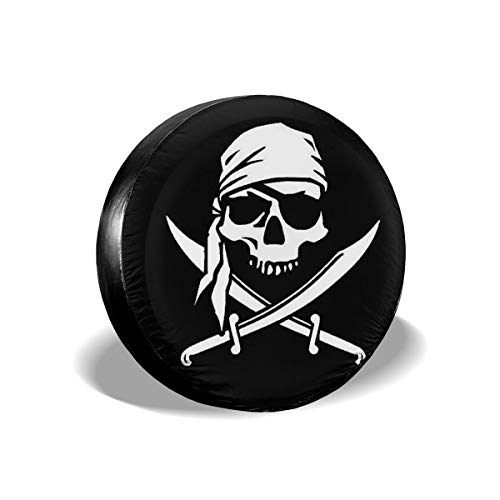 """66JR Spare Tire Covers Pirate Groovy Skull Print, Wheel Tire Cover Weather-Proof, Universal Fit for Jeep, Trailer,RV,SUV,Truck and Vehicle Wheel 14"""" 15"""" 16"""" 17"""""""
