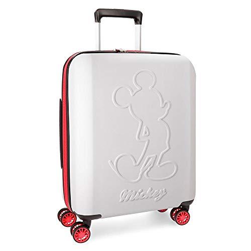 Disney Mickey Colored Maleta de cabina Blanco 40x55x20 cms Rígida ABS Cierre TSA 38L 3,1Kgs 4 ruedas dobles Extensible Equipaje de Mano