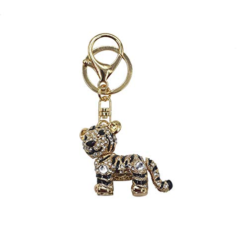 Lindo colgante de aleación de cristal tigre brillante giratorio de metal diamante de imitación llavero adorables adornos para bolso mochila - -