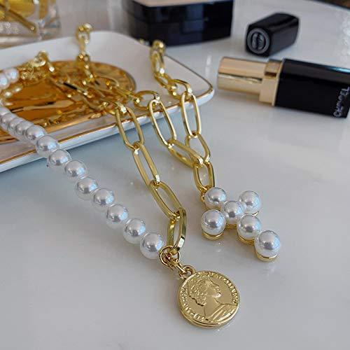 Collar sexy collar de perlas doblado cadena de doble clavícula gargantilla collar fiesta femenina banquete accesorios de ropa decoraciones, regalos navideños para amigos y novias