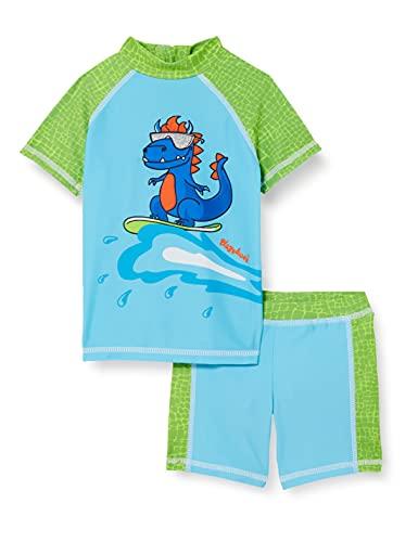 Playshoes Unisex Kinder Bade Dino Schwimmshirt-Set, blau/grün, 86/92