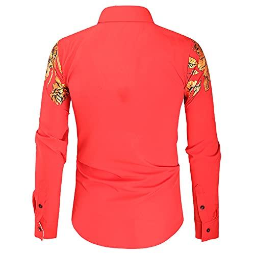 D-Rings Camisa de manga larga para hombre otoño e invierno, informal, a rayas, con solapa, de color de...