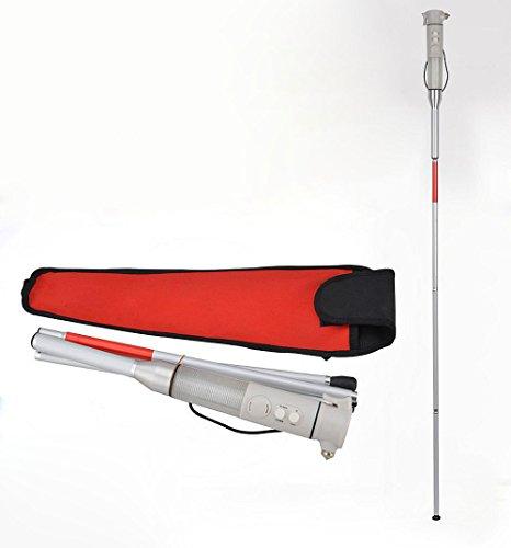 Bastón Ciego De La Caña Ciega De Aluminio Plegable Bastón De Advertencia Inteligente Bastón Blanco 135Cm
